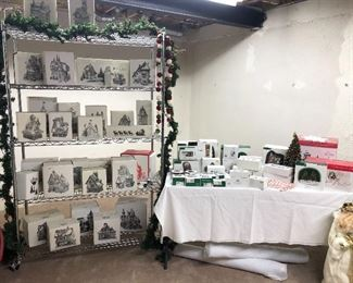 Boxes of Christmas village collection