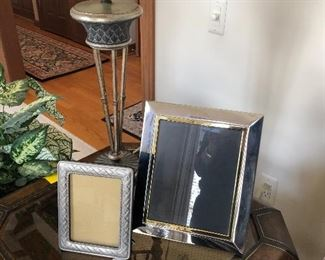 lamp, picture frames and votive