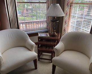 2 Ivory club chairs by R Jones - Dallas,  leather nesting tables by McGuire,  and iron and brass lamp