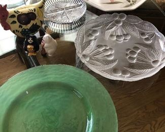 Glassware and signed pottery