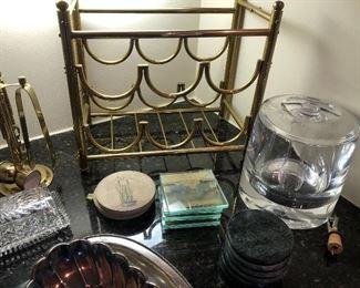 Brass Wine Rack, Heavy-duty Acrylic Ice bucket, coasters, and general barware