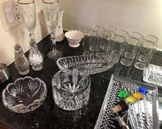 Lenox champagne flutes, Waterford dishes, Lenox glasses, Waterford salt & pepper set and more