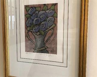 """""""Blue Roses"""" - signed, numbered - framed"""