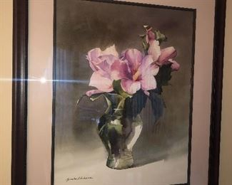 Watercolor by Yumiko Ichikawa - signed, matted and framed