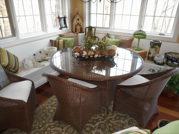 """72"""" Poly Wicker Table with 4 Chairs"""