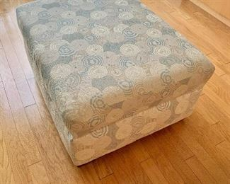 "$195 - Contemporary upholstered storage ottoman. (Some wear consistent with age and use); 20""H x 38""W x 30"" D"