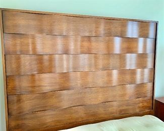"$395 - Queen, contemporary wavy, wood headboard; 71""H x 66""W x 2 1/2""D.  THIS ITEM REQUIRES A PROFESSIONAL MOVER"