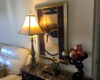 Lamp $50;  decor as is = $4-;  framed picture $60