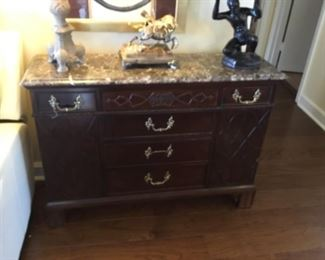 Marble top chest with 5 drawers & side panel = $200