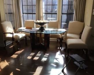 Dining table with all 6 chairs shown -