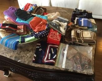 Scarves - mostly silk, some cotton - several designer silk scarves - vary in price from $5 to $50.00