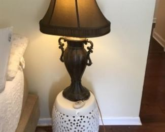 2 of these lamps in master bedroom - $30 each - glass jar table is $45.00