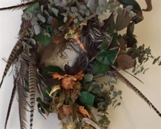 Decor -flowers &  pheasants - very nice workmanship on wreath - $40.00