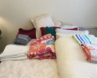 Queen bedding - priced as marked - pillows -$4-5.00 ea; towels $3-4.00 ea; sheet set $12 - white heavy pillow shams (3 matching) -$5.00 each; comforter - $40; Flowered Quilt - $25; red comforter $30