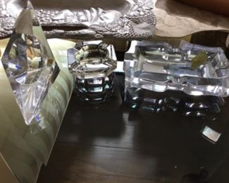 Glass Art Deco containers - $10 on triangle, $4 ashtray, rectangle $10
