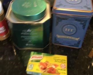 Miscellaneous tins - $2-4.00; Knorr bouillon box - $1