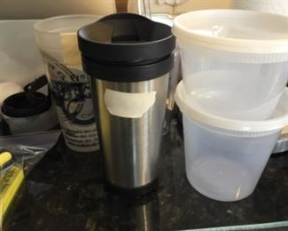 Insulated cup -$3.00; plastic containers - $1.00 each