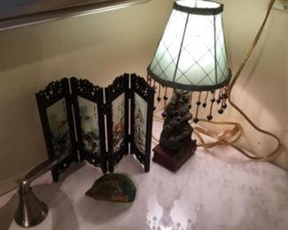 Bathroom small lamp - $15.00; decor folding screen - $8.00