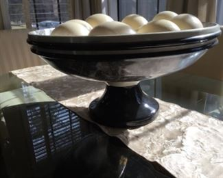Dining table mahogany bowl with ostrich eggs - $180