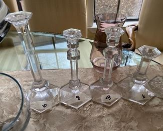 Glass Candlesticks $10, $8, $8, $6,