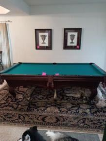 Pool table with cover and Ping Pong cover with cue sticks.  In great condition