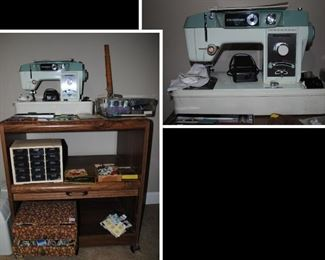 Domestic sewing machine and sewing items - vintage sewing box, vintage buttons, wood spools, scissors and more