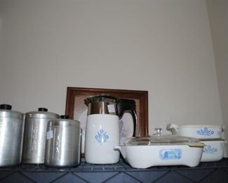 Blue Cornflower, Aluminum ware canister set