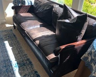 Tommy Bahama Style Bernhardt Leather Brown Sofa - also has a chair.