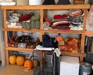lamp shades, kennel, mini fridge , halloween decor and fall decor, fabric !