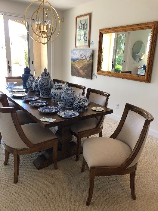 RH Table ( I believe) and Kreiss Chairs with performance fabric, Blue and white china