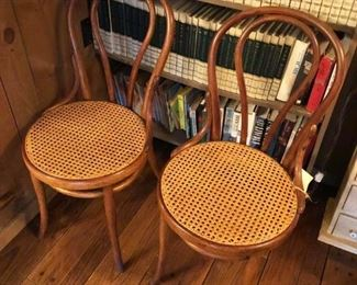 Antique Caned-Seat Bentwood Chairs - have two