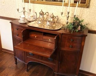Antique Mahogany Butler's Desk / Server - open