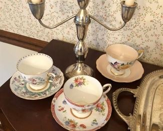 Sterling Candlesticks & vintage cups and saucers