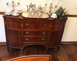Antique Mahogany Butler's Desk / Server - closed