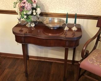 Vintage Game Table with drawer, in closed position
