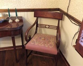 Set of 6 dining room chairs with needlepoint seats
