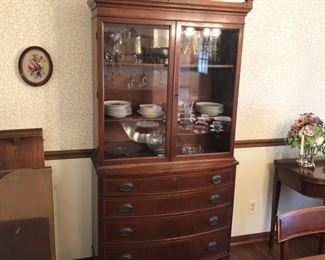 Vintage Bow-Front China Cabinet