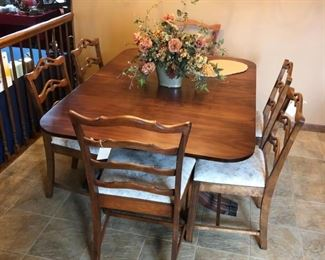 Duncan Phyfe-style table.  Set of 4 chairs.  Set of 2 chairs.  Table and each set of chairs sold separately.