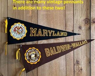 Vintage felt pennants:  Maryland, Baldwin-Wallace