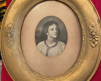 Antique Oval Frame with Joan of Arc