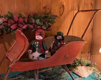 Antique Sleigh / Cutter, Child Size, c1890, ALL ORIGINAL with painted design