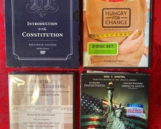 DVDs: Introduction to the Constitution, Hungry for Change, Rebirth / Liberty / Learning, and America