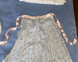 Antique Apron, Pink Roses & Lace with Satin Ribbon