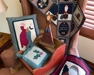 Christmas Textiles and Sleigh