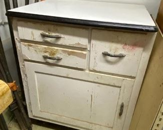 Hoosier Era Kitchen Cabinet / Now Microwave Stand