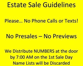 Sale Guidelines
