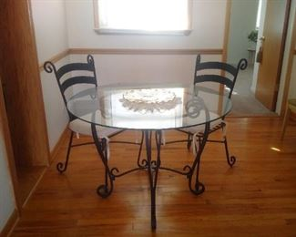 Pier 1 dining set table and two chairs Metal & Glass