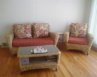 Rare Seagrass Sunroom Patio Set Loveseat Chair Table w/glass