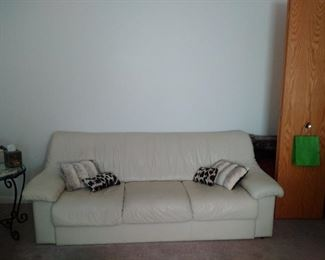 Natuzzi off white Leather Couch also matching oversized chair available for $450 or best offer
