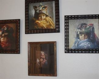 """Triptych of three children.  By Charles Zhang.                                                   """"Baby In Yellow"""", """"Baby in Jewel Tones"""", """"Baby In Blue"""". Medium is Giclee on archival canvas.                             """"Pray 1"""", Tibetan Shaman, Giclee on canvas."""